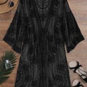 Sheer Lace Tie Front Kimono